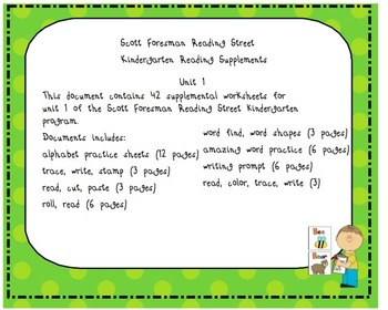 Scott Foresman Kindergarten Reading Street Unit 1 Worksheets