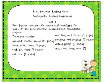 Scott Foresman Kindergarten Reading Street Unit 3 Worksheets
