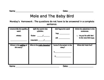 Scott Foresman Mole and The Baby Bird Common Core Standards