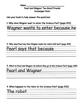 Scott Foresman Reading Street 08 Gr. 2 - Unit 3 Week 1 - Comprehension Questions