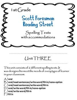 Scott Foresman Reading Street 1st Grade U-3 Spelling Test w/ accommodations