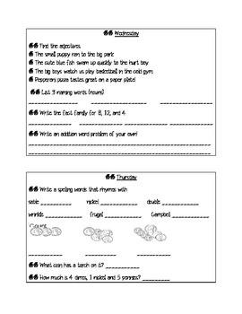 Scott Foresman Reading Street (2nd Grade) Quilt Story Morning Work