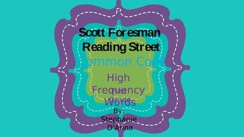 Scott Foresman Reading Street Common Core High Freguency Words and Letters