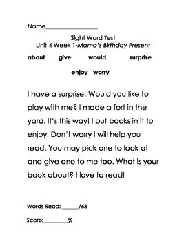 Scott Foresman Reading Street, First Grade, HFW Tests Unit 4