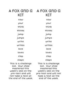 Scott Foresman Reading Street First Grade Spelling Challenge List