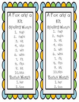 Scott Foresman Reading Street First Grade Spelling Lists - Unit 1