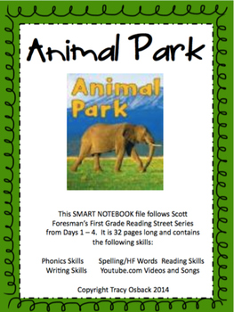 Animal Park SMARTboard Lesson Scott Foresman Reading Street Grade 1