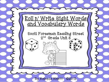 Scott Foresman Reading Street-Grade 2 Unit 5 Roll n' Write Sight/Vocab. Words