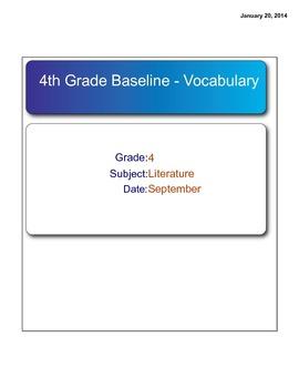 Scott Foresman Reading Street Grade 4 - Baseline Test SMAR