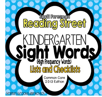 Reading Street Kindergarten Sight Word Lists and Checksheets
