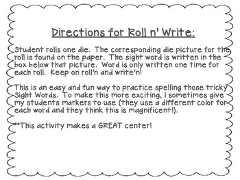 Scott Foresman Reading Street-Second Grade Unit 1 Roll n' Write Sight Words