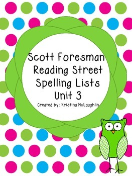 Scott Foresman Reading Street Spelling Lists Unit 3