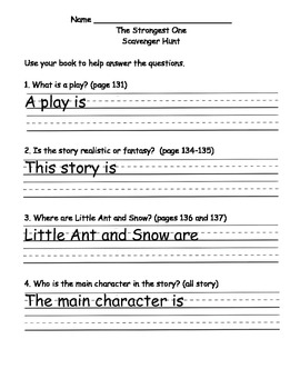 Scott Foresman Reading Street Gr. 2 Unit 1 Story 5 Comprehension Questions