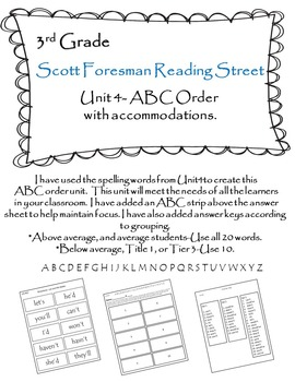 Scott Foresman Reading Street 3rd Grade U-4 ABC Order with Accommodations