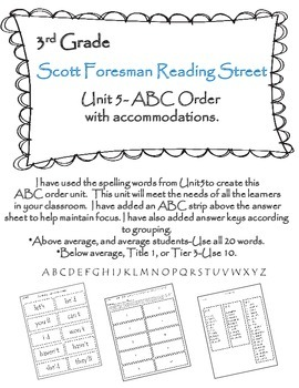 Scott Foresman Reading Street 3rd Grade U-5 ABC Order with Accommodations