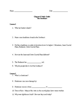 Scott Foresman Regions Ch. 6 Study Guide