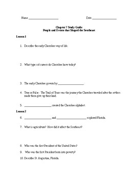 Scott Foresman Regions Ch. 7 Study Guide