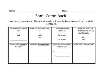 Scott Foresman Sam, Come Back! Homework