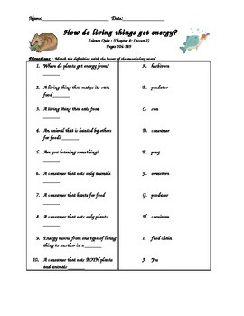 Scott Foresman- Science- Grade 3- Ch.4: Plants & Animals -Lesson 2 Quiz