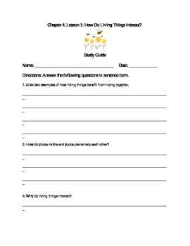 Scott Foresman Science Grade 3 Chapter 4.1 Study Guide