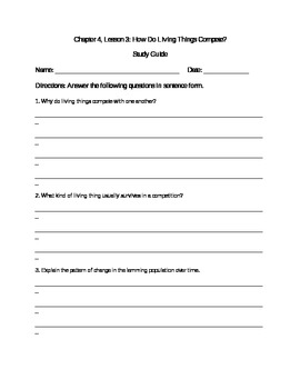 Scott Foresman Science Grade 3 Chapter 4.3 Study Guide