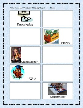 """Scott Foresman """"What About Me?"""" (Vocabulary) Match-Up Game"""