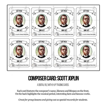Scott Joplin Composer Trading Card