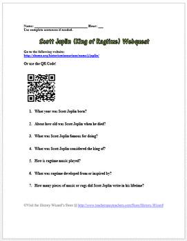 Scott Joplin (King of Ragtime) Webquest