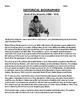 Scott of the Antarctic  Biography Article and (3) Assignments
