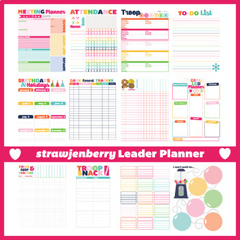 image about Planner Pdf named Scout Chief Troop Planner Packet Fillable PDF Lady Scouts Motivated