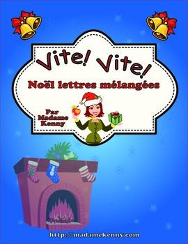 French Task Card - Cartes à tâches: Vocabulaire de Noël - Les lettres mélangées