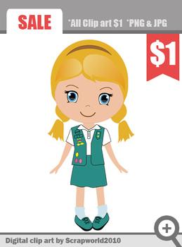 Scout girl blond green uniform cut clip art