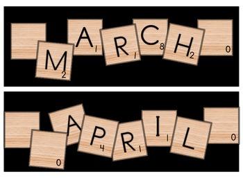 Scrabble Calendar Headings