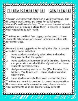 Scrabble Math & Vocabulary Worksheets K-5 (Scrabble Tiles Included!)