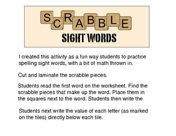 Scrabble Sight Words