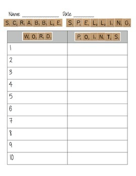 Scrabble Spelling Activity