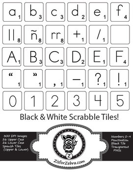 Scrabble Tiles (2 sizes) - black and white, Spanish, numbers + extras!
