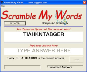 Scramble My Words for Windows PC Vocabulary Spelling