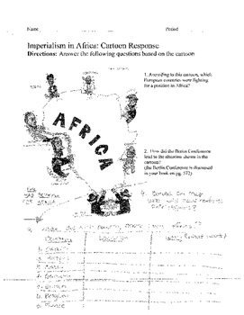 Scramble for Africa: Berlin Conference Cartoon assignment