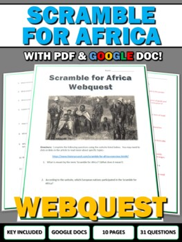 Scramble for Africa (Imperialism in Africa) - Webquest wit