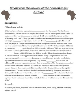 Scramble for Africa worksheets