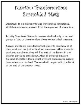 Scrambled Math: Function Transformations