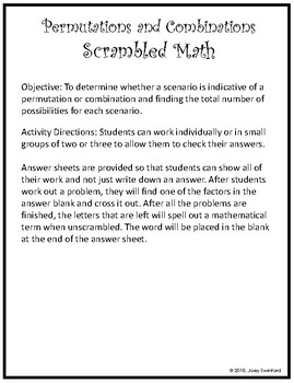 Scrambled Math Permutations And Combinations By Swinny S Math Store