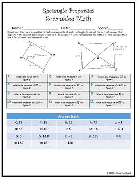 Scrambled Math: Rectangle Properties