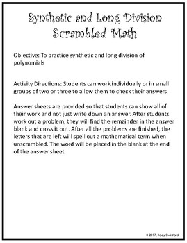 scrambled math synthetic and long division
