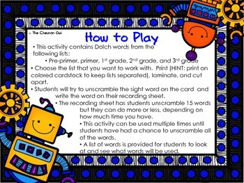 Scrambled Robots Dolch Words -- Unscramble the Sight Word