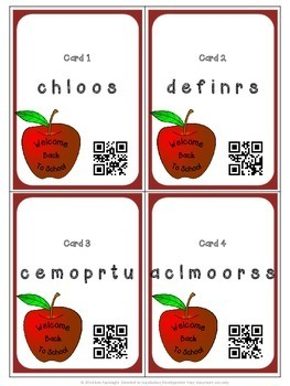Scrambled School Words Activity With QR Codes