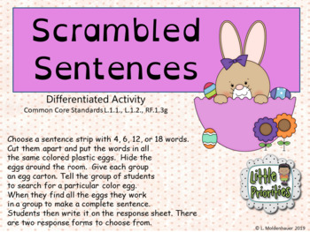 Scrambled Sentence Differentiated Activity correlated to Common Core Standards