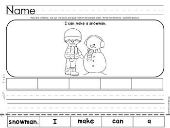 Scrambled Sentence Worksheets -January
