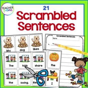 FALL LITERACY ACTIVITIES Sentence Building & Scrambled Sentences